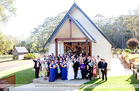 group photo outside the chapel